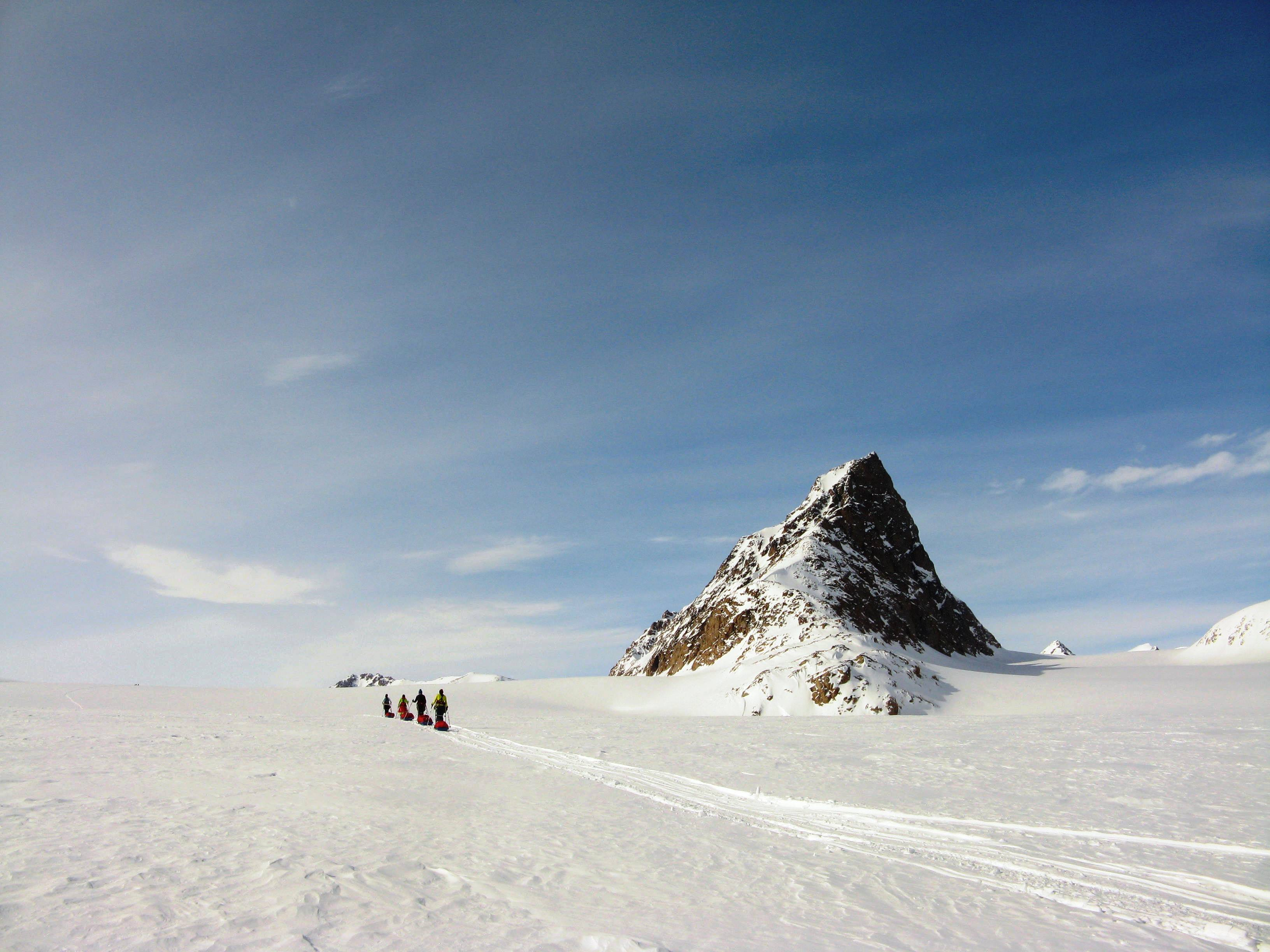 Skiing on the Bjerring Pederson Glacier Greenland
